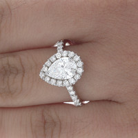 Pave Style 18k W/G 1.51 CTW GIA Pear & Round Cut Diamond Anniversary Ring