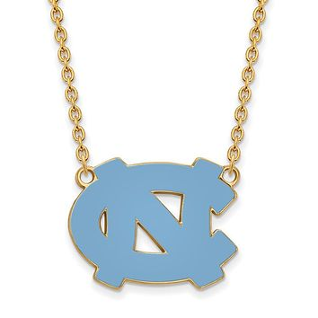 NCAA 14k Gold Plated Silver North Carolina Large 'NC' Pendant Necklace