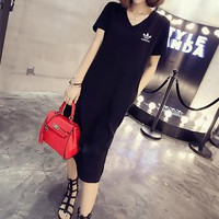 """""""Adidas"""" Women Simple Casual Small Logo Print V-Neck Short Sleeve Middle Long Section T-shirt Side Split Dress"""
