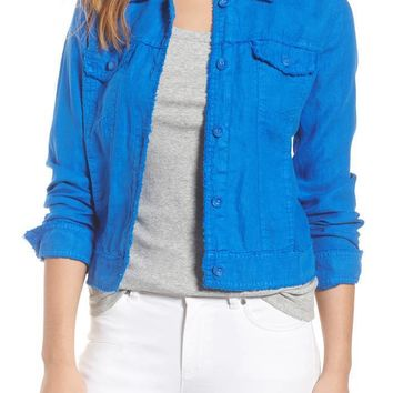 TOMMY BAHAMA 'Two Palms' Linen Raw Edge Jacket Cobalt $105