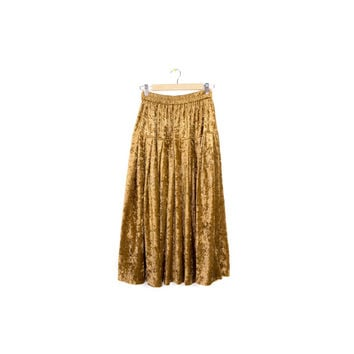 vintage gold velvet - velour skirt / elastic stretch waist maxi