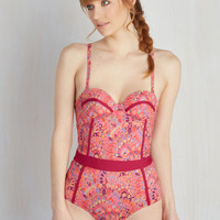 Need I Say Shore? One-Piece Swimsuit in Hibiscus