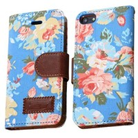 OOOUSE Elegant Flower and Deluxe Book Style Folio PU Leather Wallet with Magnet Design Flip Case Cover, Credit Card Holder for iPhone 5 / 5S / 5C and iPhone 4S (iPhone5S-Blue)