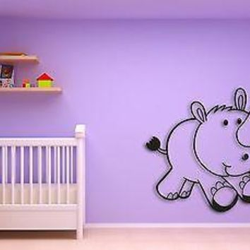 Wall Sticker For Kids Baby Rhino  Cool Decor for Nursery Room Unique Gift z1409