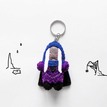 Dark Elf keychain, rpg character felt plush keyring, gift idea for role players, geeky accessory, fantasy Elf plush keychain charm