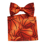 "Men Basketball Clip On Bow Tie And Matching 10"" x 10"" Pocket Square"