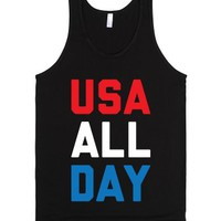 USA All Day-Unisex Black Tank