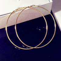Personality Super Big Circles Hoop Earrings For Women Fashion Gold-color Jewelry Bijoux Trendy Statement Earrings