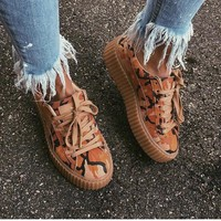 Fenty Rihanna by Puma Suede Creepers Brwon Orange Camo Shoes For Mens Womens
