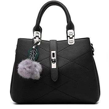 Women Top Handbag Bag KINGH Zip Closure Tote Vintage Shoulder Bag PU Leather 116