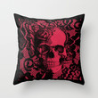Gothic Lace Skull in red and black. Throw Pillow by Kristy Patterson Design