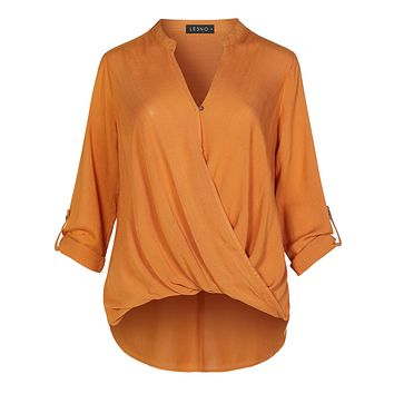 Casual Relaxed Fit Twist Front Blouse Shirt Top With Roll Up Sleeves