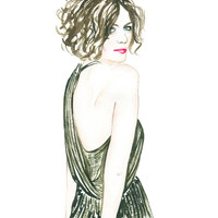 Woman Portrait, Watercolor Fashion Illustration