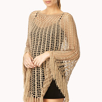 FOREVER 21 Boho Dream Poncho Tan One