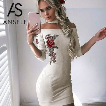 Floral Embroidery Women Summer Dress Sexy Off Shoulder Body con Party Dresses Sheath Night Club Bandage Dress
