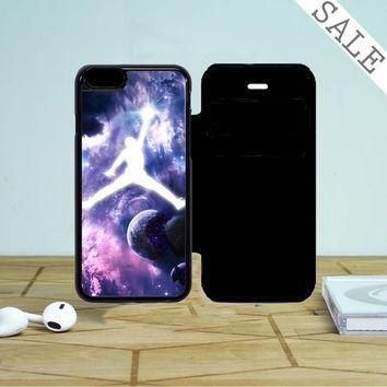 Michael Jordan In Galaxy Nebula iPhone 5 Flip Case