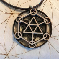 Sacred Geometry Wooden Layered Pendant - Stained Dark - Birch Wood