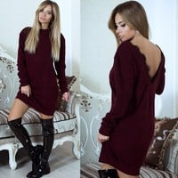 Winter Women Casual Simple Solid Color Backless Deep V Lace Stitching Long Sleeve Mini Dress