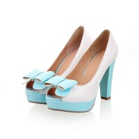 Charm Foot Fashion Bows Womens Platform High Heel Peep Toe Pumps Shoes