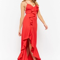 Flounce-Trim Maxi Dress