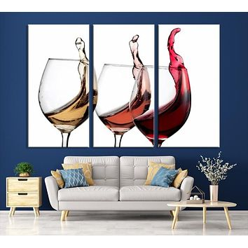 49896 - Large Wall Art Abstract Wine in Glasses Canvas Print