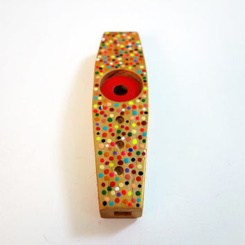 Hand Painted Gold Rainbow Confetti Kazoo