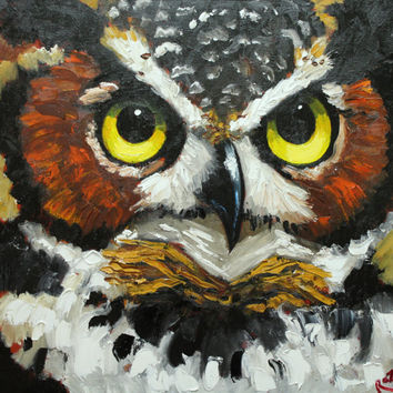 Print Owl 20 20x20 inch Print from oil painting by Roz