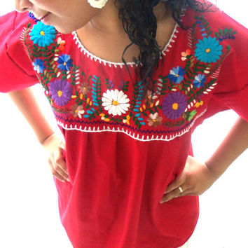 amor bohemian embroidered mexican blouse