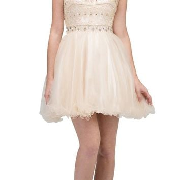Champagne Beaded Short Prom Dress with Illusion Neckline