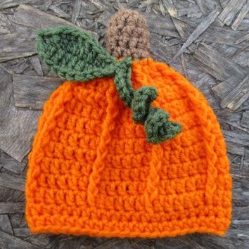 Crochet Baby Pumpkin Hat Newborn Photo Prop