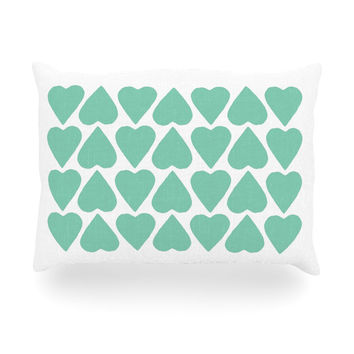 """Project M """"Mint Up and Down Hearts"""" Oblong Pillow"""