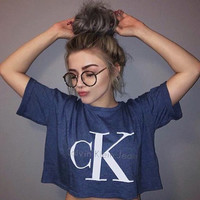 Calvin klein jeans Hot sexy letters printing female sweater pullovers tee shirt