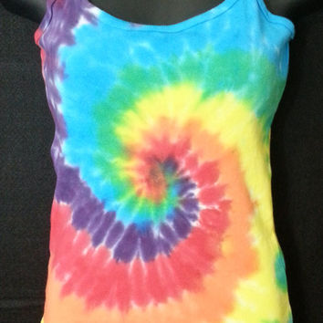 Hand Dyed Bright Spiral Tie Dye Shirt | Camisole Extra Long