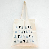 Shades Of Grey Geometric Tote / Hand-Painted Triangle Pattern Tote Bag