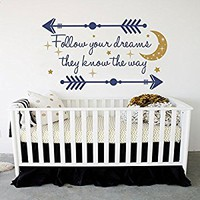 Arrow Wall Decal Baby Nursery Decal Dreams Quote Stickers Moon Star Decor MN1031 (22x38)