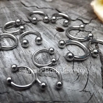 Septum Piercing Nose Ring 16g Silver Circular Barbells Horseshoe Daith Piercing 14g Helix Earlope Lip Nipple Rings Piercings 12g Conch Balls