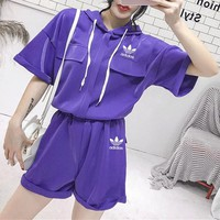 """Adidas"" Women Loose Casual Fashion Hooded Short Sleeve Pullover Hoodie Shorts Set Two-Piece Sportswear"