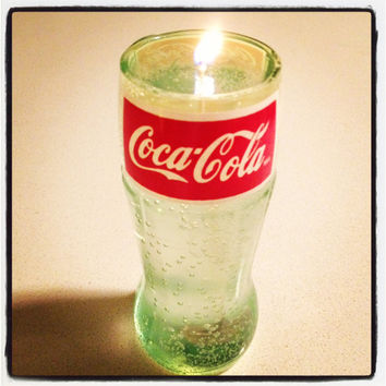 Recycled Coca-Cola Coke Glass Bottle Gel Candle