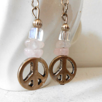 Rose Quartz Earrings with Peace Symbol, Handmade, OOAK, Gift for Her, Fairy, Enchanted, Hippie, Boho