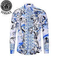 VERSACE Fashion Men Women Casual Print Long Sleeve Lapel Shirt Top