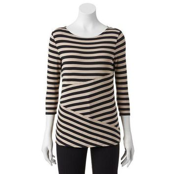 Dana Buchman Striped Pieced Top   Women's Size: X