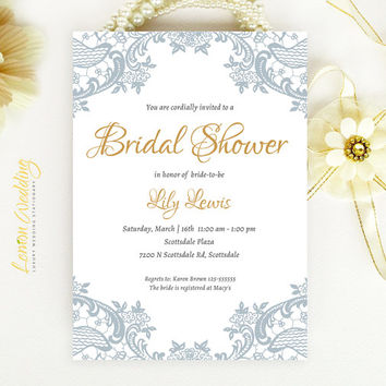 elegant lace bridal shower invitation blue gray and gold wedding shower invitation printed on luxury