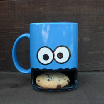 Googly Eyed Monster Ceramic Cookies and Milk Dunk Mug - Ready to Ship - G1