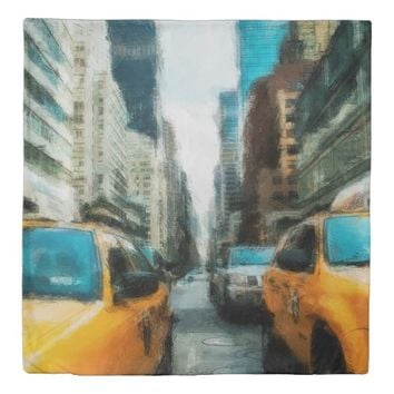 Yellow Taxi Cabs After Rain In New York City Duvet Cover