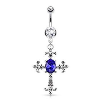 Fleur De Lis Cross Crystal Accented Belly Ring