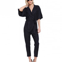 V-neck Half Sleeves Jumpsuits
