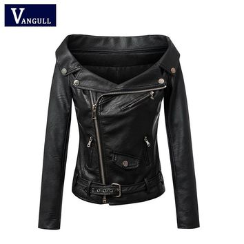 Woman Off shoulder faux leather jacket women motorcycle jacket Spring outerwear coats Short zipper basic jackets
