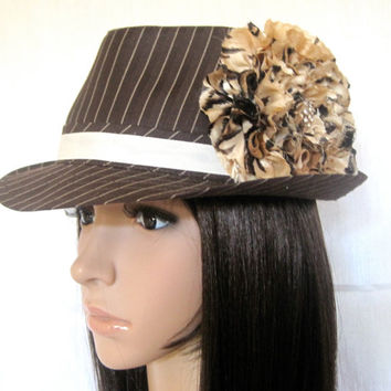 Brown Pinstriped Fedora Hat with a Variegated by theraggedyrose