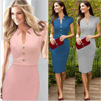 Short Sleeve Cut-Out Neckline Midi Pencil Dress