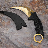 Golden CSGO Counter Strike Real game Karambit Knife Neck Knife Outdoor Camping tools Rescue Survival Knives Free shipping